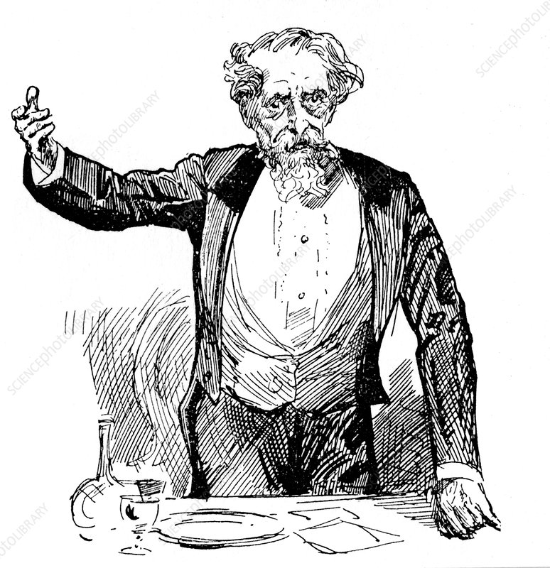 Charles Dickens giving an after-dinner speech, c1860s
