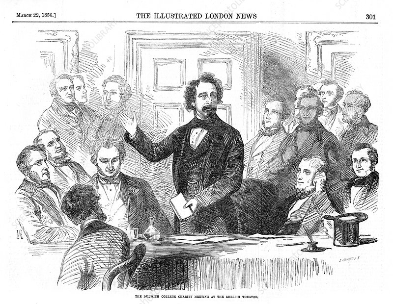 Charles Dickens addressing a meeting, London, 1856