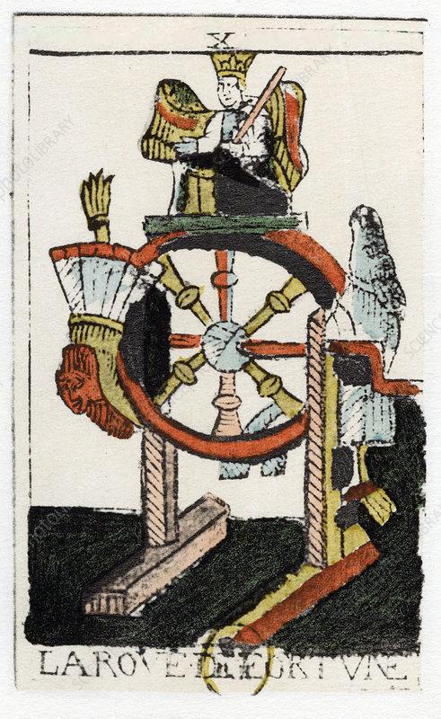 Tarot card of The Wheel of Fortune, Noblet Tarot