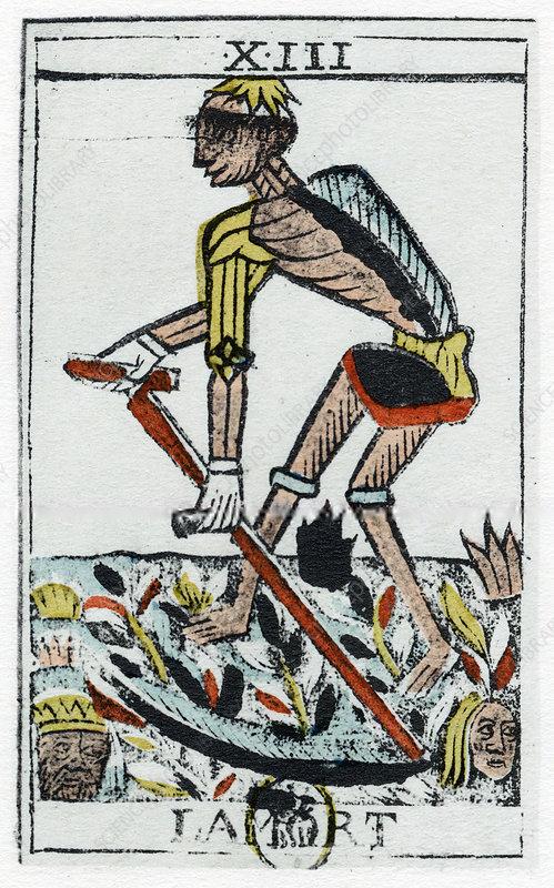 Tarot Card of Death, the grim reaper, Noblet tarot