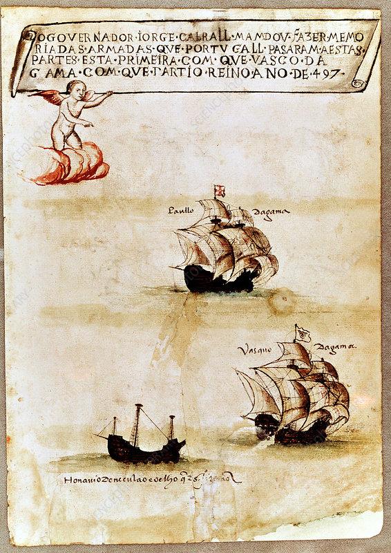 Vasco da Gama's fleet at sea, 1497