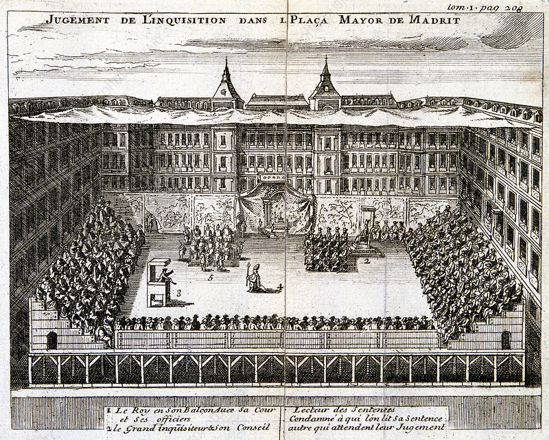 Trial by the Spanish Inquisition in progress in Madrid, 1759