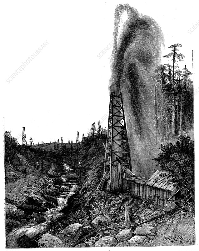 A gusher in the Pennsylvanian oilfields, USA, 1886