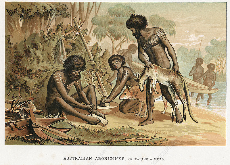 Australian natives preparing meal