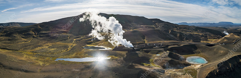 Geothermal area and power stations, Iceland