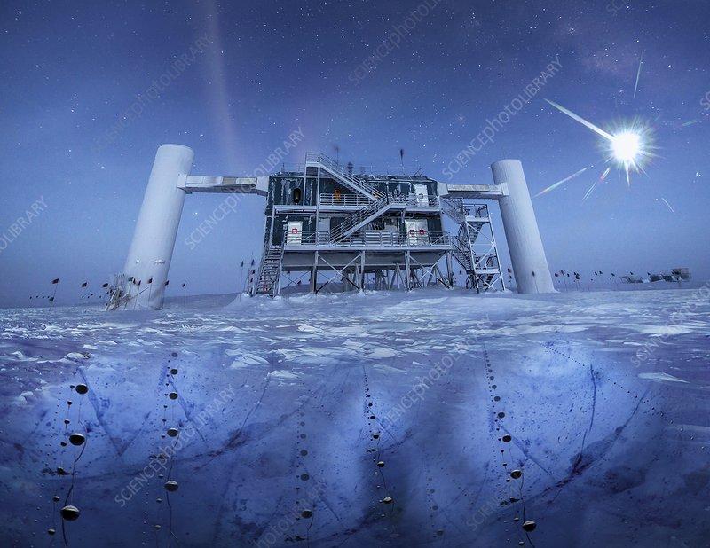 IceCube Neutrino Observatory, illustration - Stock Image ... Icecube Neutrino Observatory
