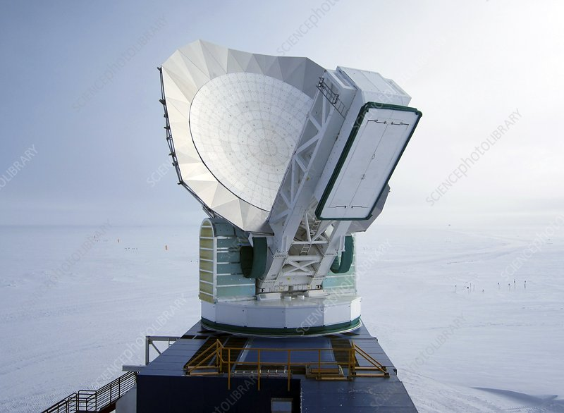 South Pole Telescope and new ground shield, 2012