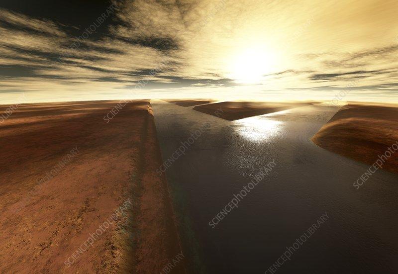 Water-filled channels on Mars, illustration