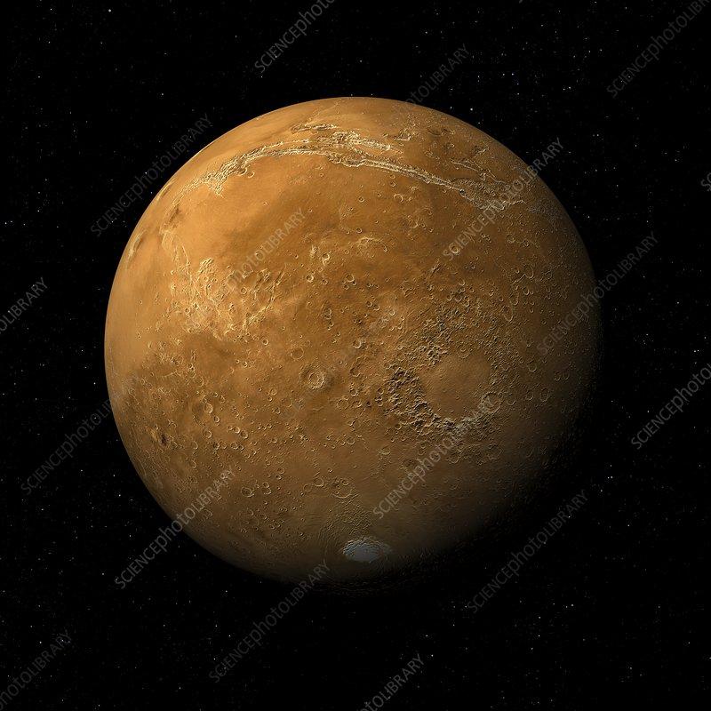 Argyre basin to Valles Marineris, Mars, illustration