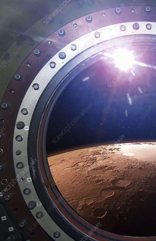 Argyre basin, Mars, through spacecraft window, illustration