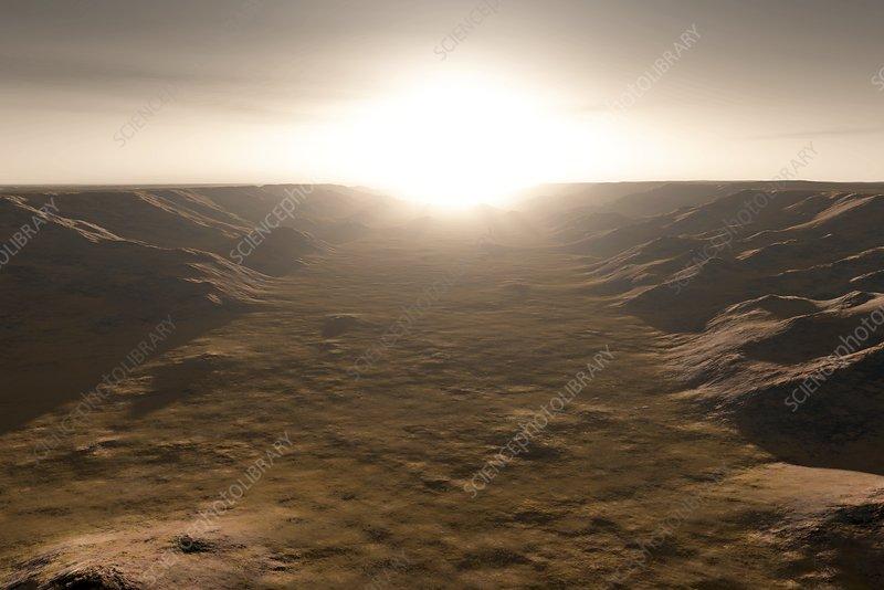 Sunrise over Valles Marineris, Mars, illustration
