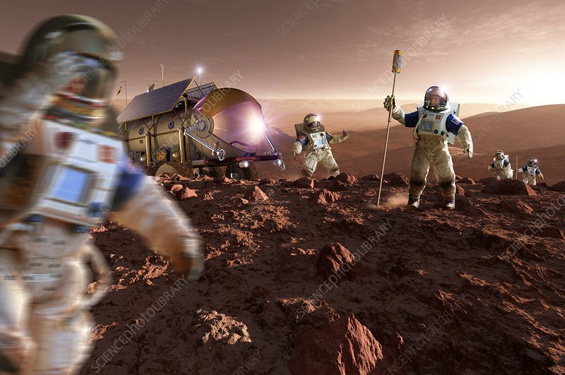 Astronauts on Mars, illustration