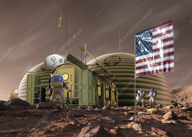 Astronauts and Mars base, illustration
