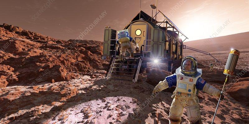 Astronauts on Mars, illustration