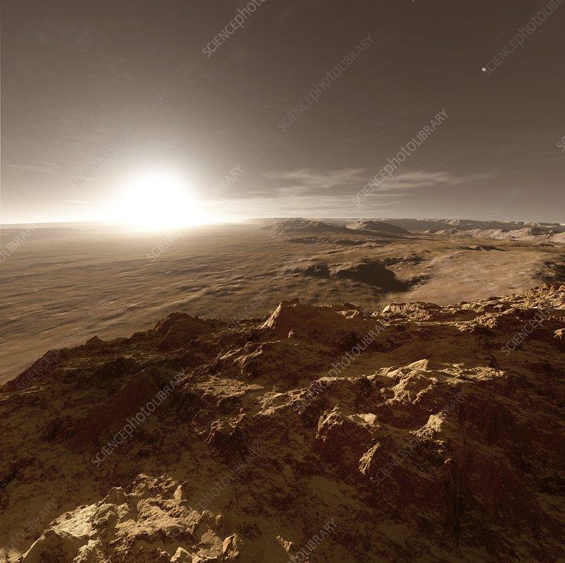 Schiaparelli crater, Mars, at sunset, illustration