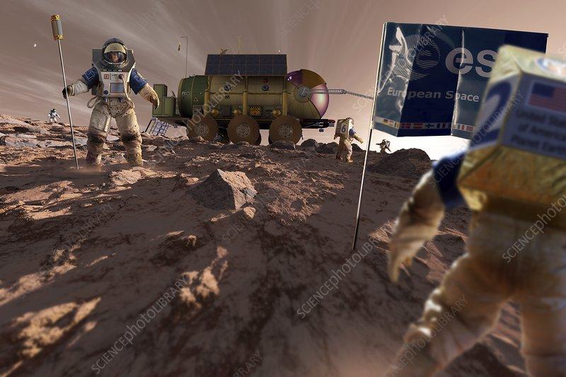 Astronaut on Mars, illustration