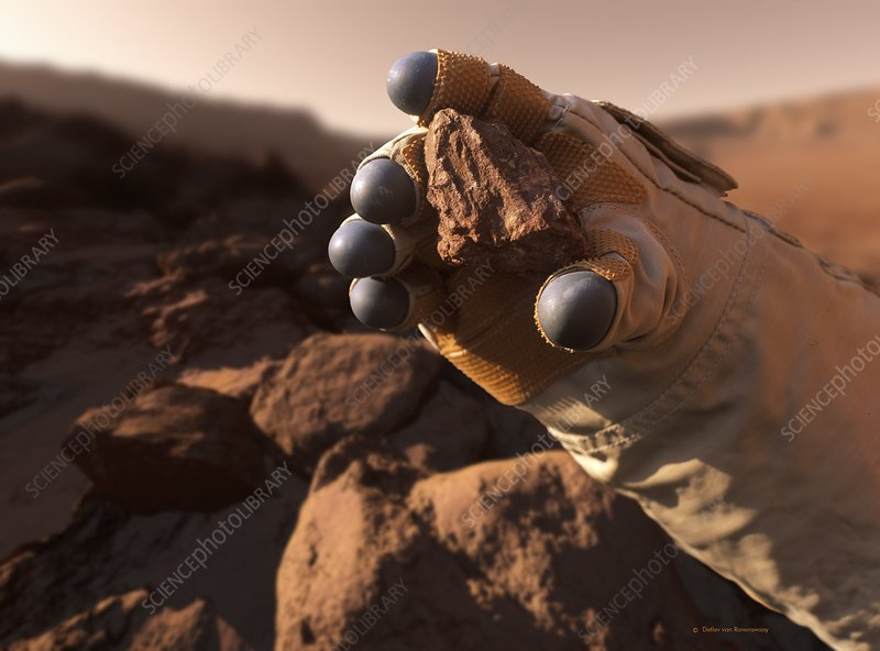 Astronaut holding Mars rock, illustration