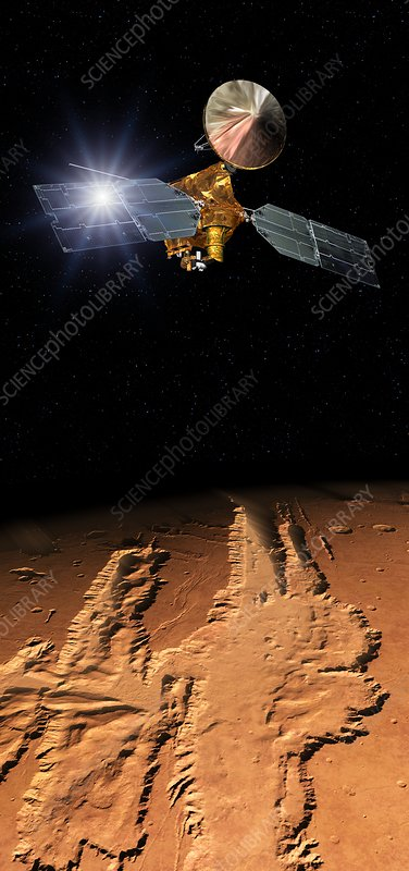 Mars Reconnaissance Orbiter in Mars orbit, illustration