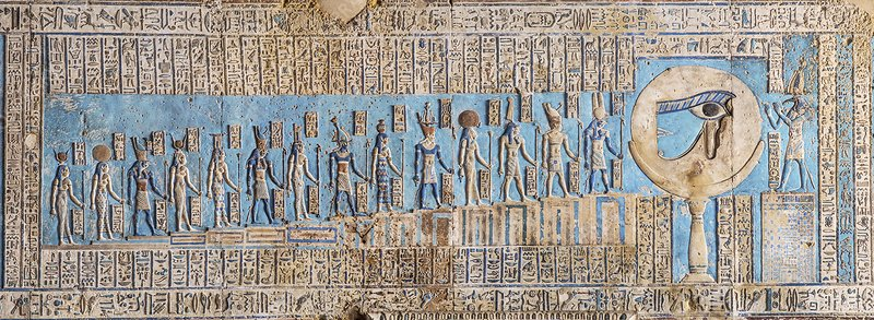 Waxing Moon represented in Egyptian temple