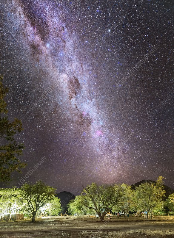 Milky Way over a campsite, Namibia
