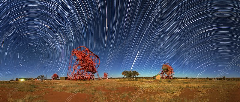 Star trails over HESS telescopes, time-exposure image
