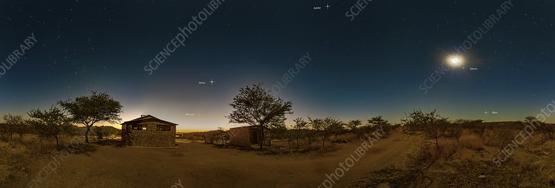 Planets in the night sky, Namibia
