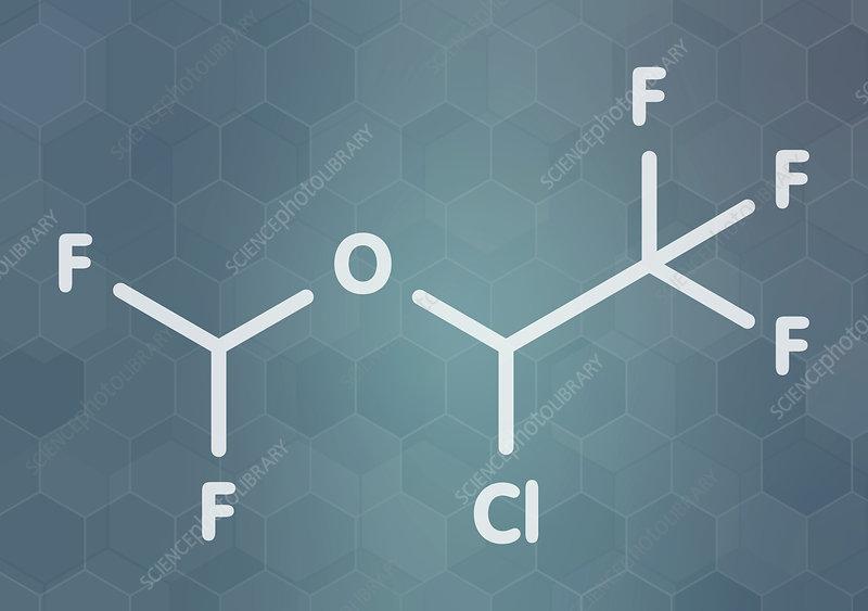 Isoflurane anesthetic drug molecule
