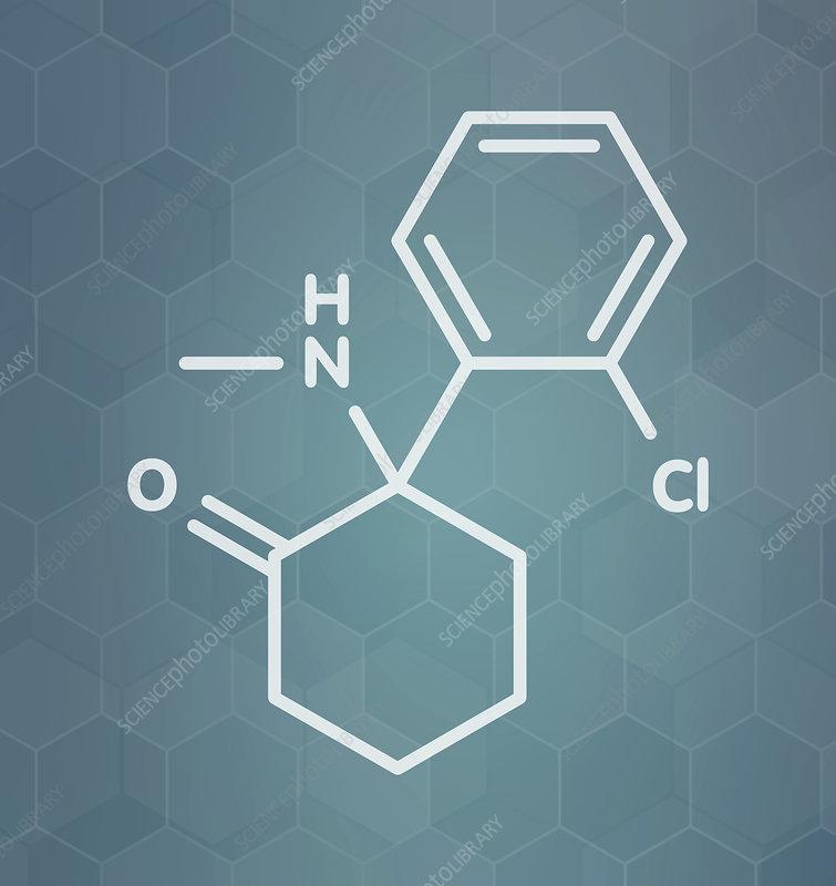 Ketamine anesthetic drug molecule
