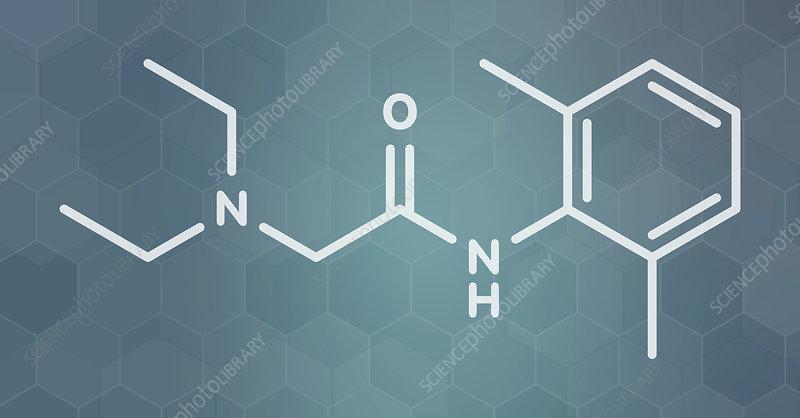 Lidocaine local anesthetic drug molecule