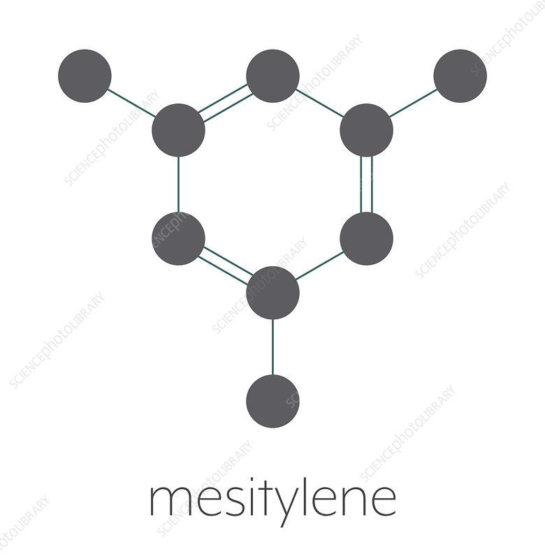 Mesitylene aromatic hydrocarbon molecule