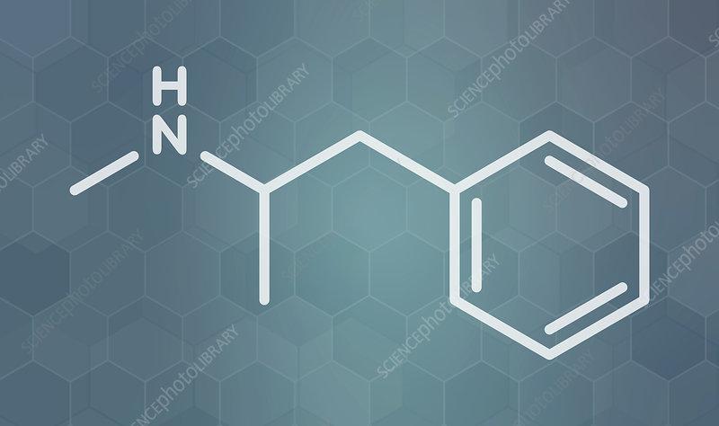 Methamphetamine stimulant drug molecule