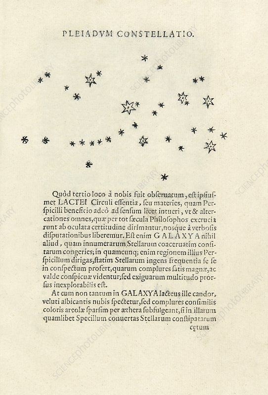 Galileo's observations of stars in the Pleiades, 1610
