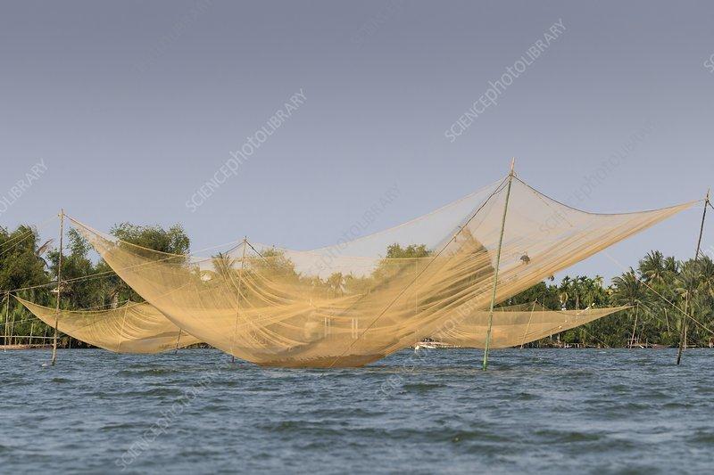 Fishing nets on Thu Bon River, Vietnam