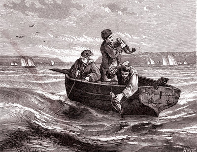 Fishing from a small boat, 19th century