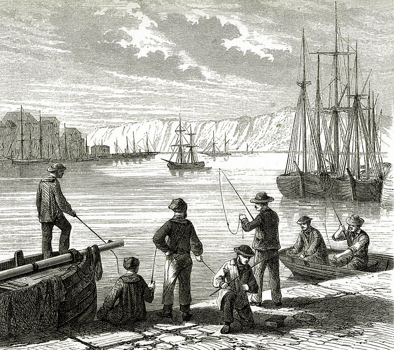 Fishing from docks, 19th century