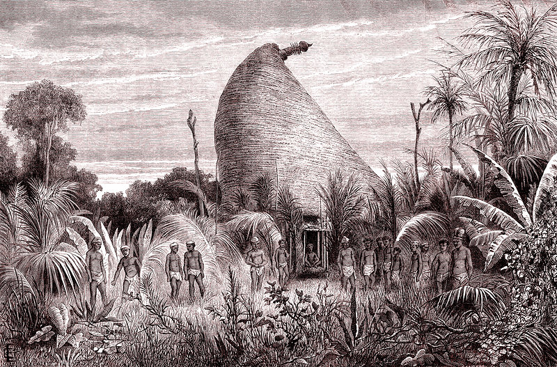 Tribal chief hut on New Caledonia, 19th century
