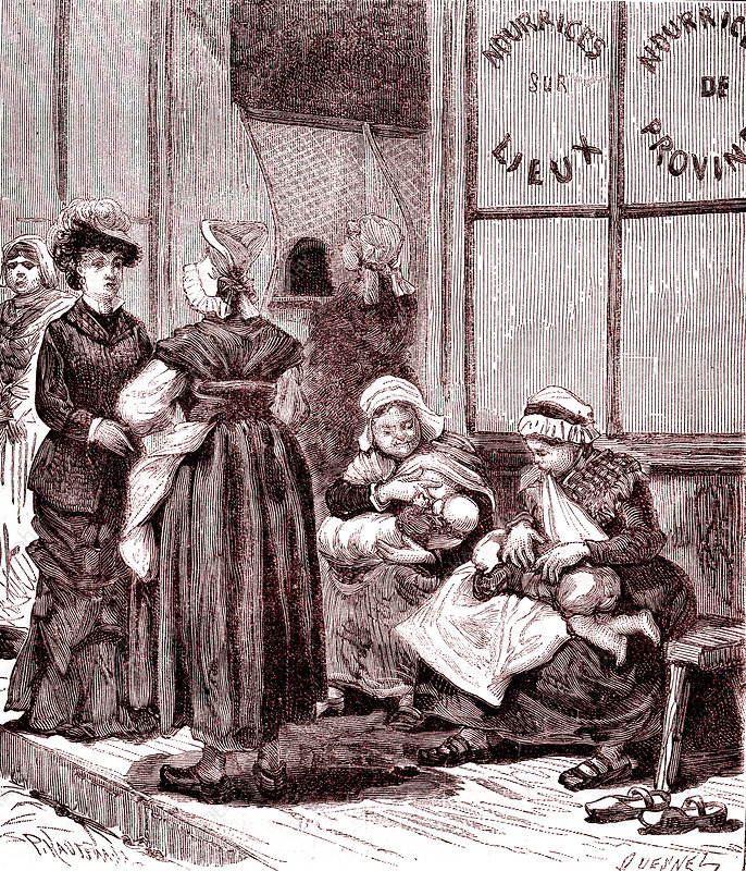 Wet nurses breastfeeding babies, 19th century