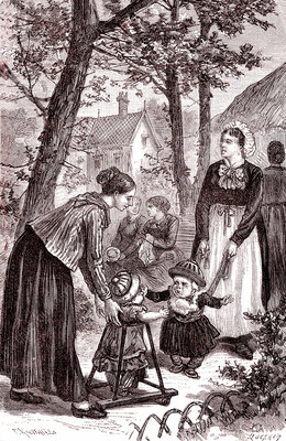 Mother and children with a nursemaid, 19th century
