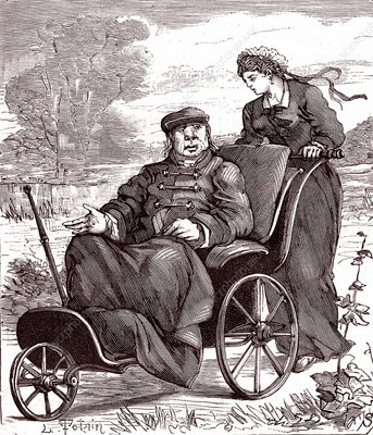Nurse caring for disabled man, 19th century