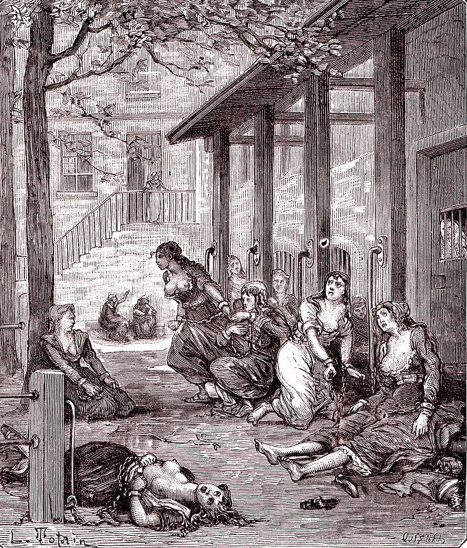Chained women in a mental asylum, 19th century