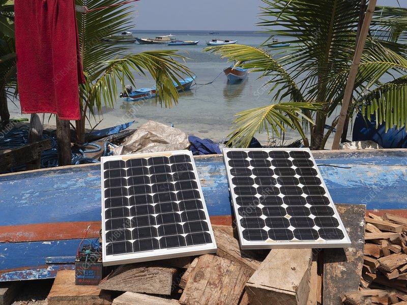 Solar panels, Banda Islands, Indonesia