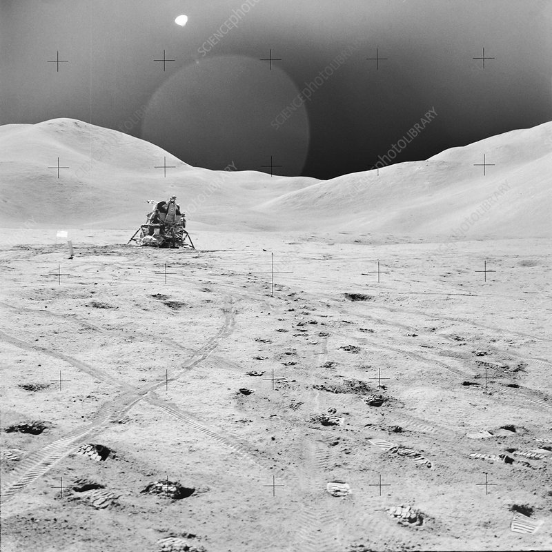 Apollo 15 lunar lander 'Falcon' on the Moon, August 1971