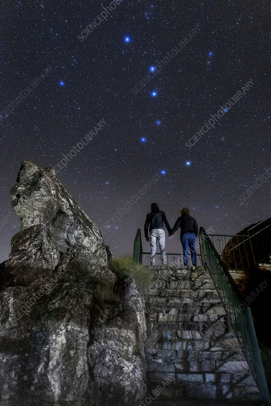 Big Dipper and stargazing lovers