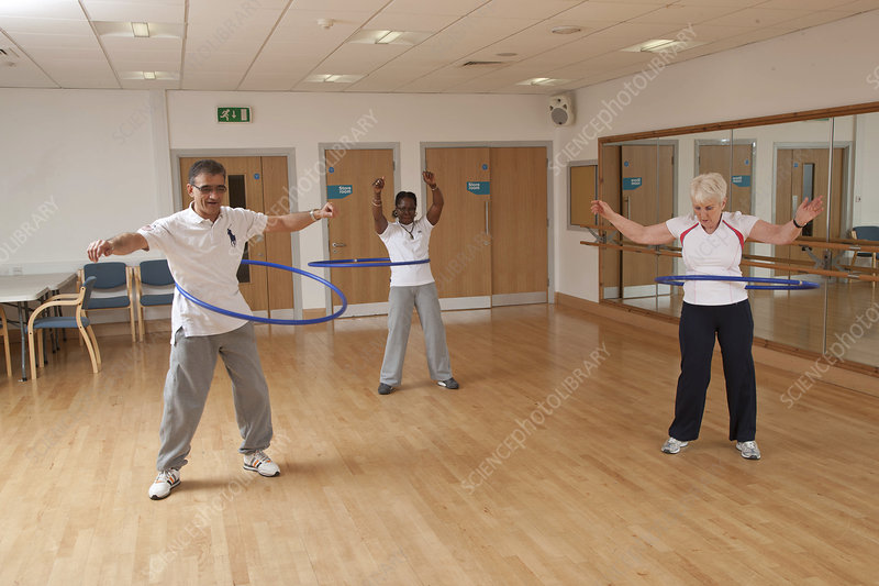 Older people doing exercise class