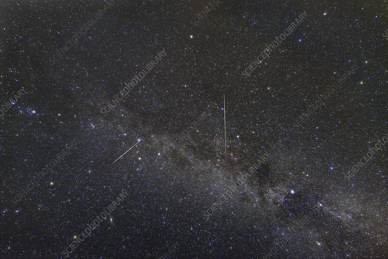 Perseid meteor shower tracks and Milky Way