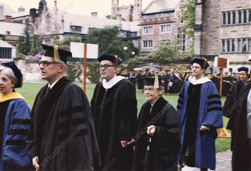 Yale doctorate for US geneticist Barbara McClintock, 1982