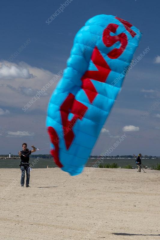 Kite flying, Lake Erie, USA