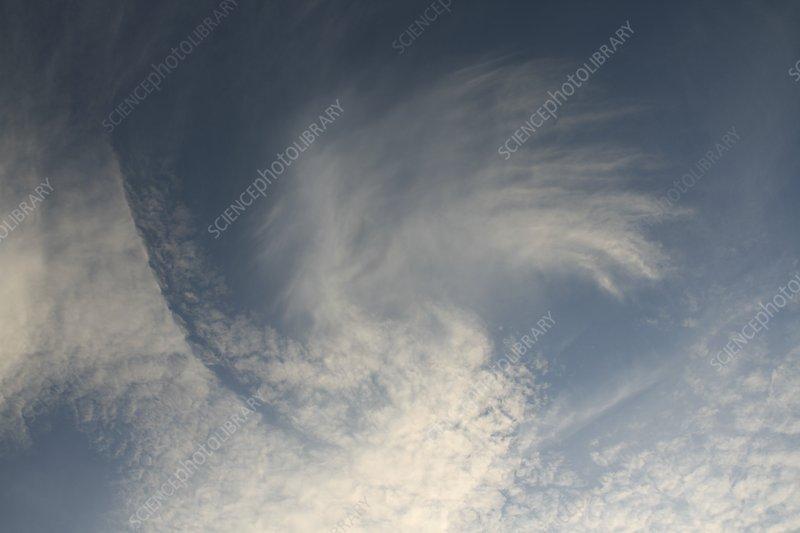 Fallstreak hole in altocumulus clouds
