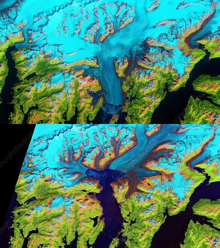 Columbia Glacier retreat from 1986 to 2014, satellite images