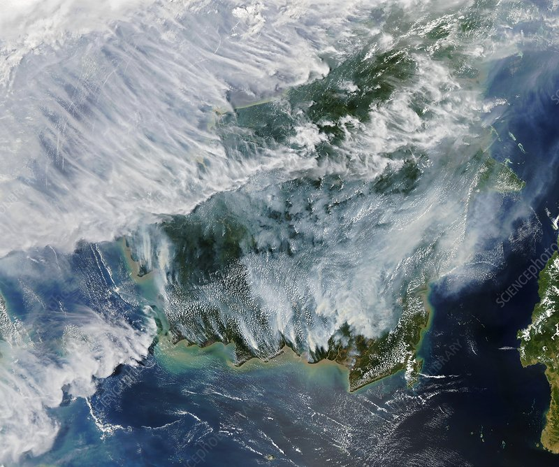 Smoke from Indonesian fires, satellite image